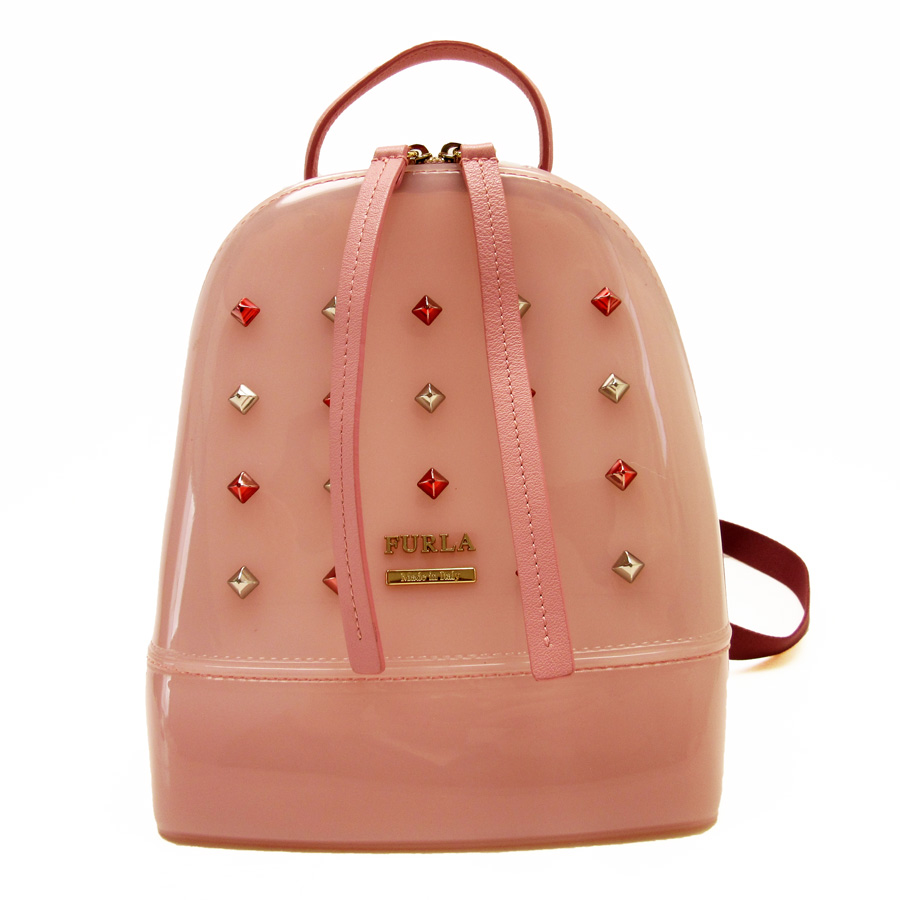 1db3199ee22 フルラ FURLA rucksack backpack ◆ pink patent leather x leather ◆ constant  seller popularity ◆ Lady's - h14855