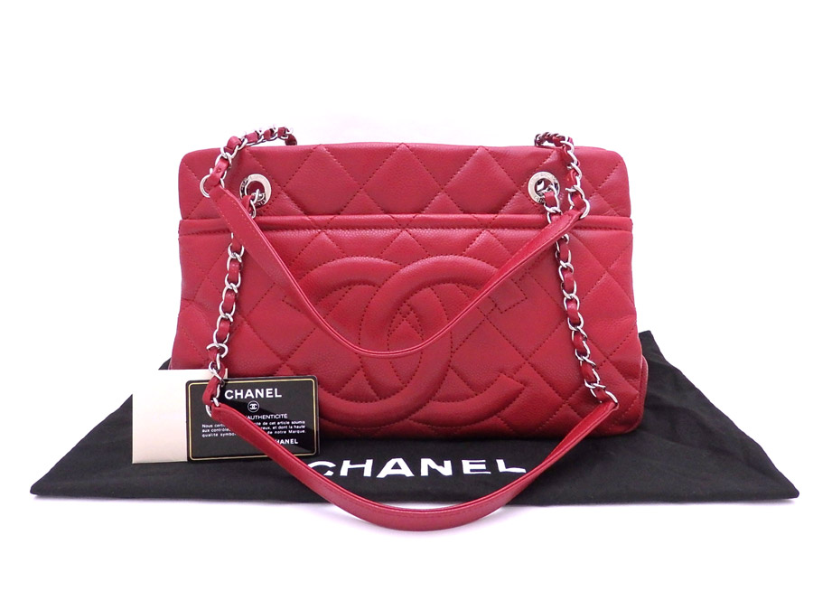 5a195b538ff53 Chanel CHANEL bag matelasse red x silver metal fittings caviar skin leather  chain shoulder bag tote bag Lady s A67294 - e33693