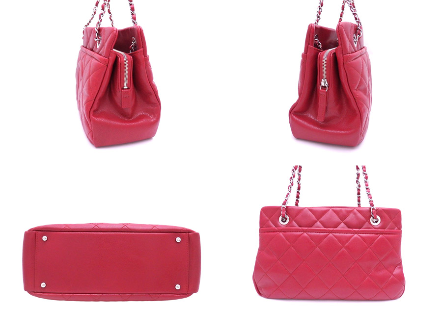 3be54cc33967 ... Chanel CHANEL bag matelasse red x silver metal fittings caviar skin  leather chain shoulder bag tote ...