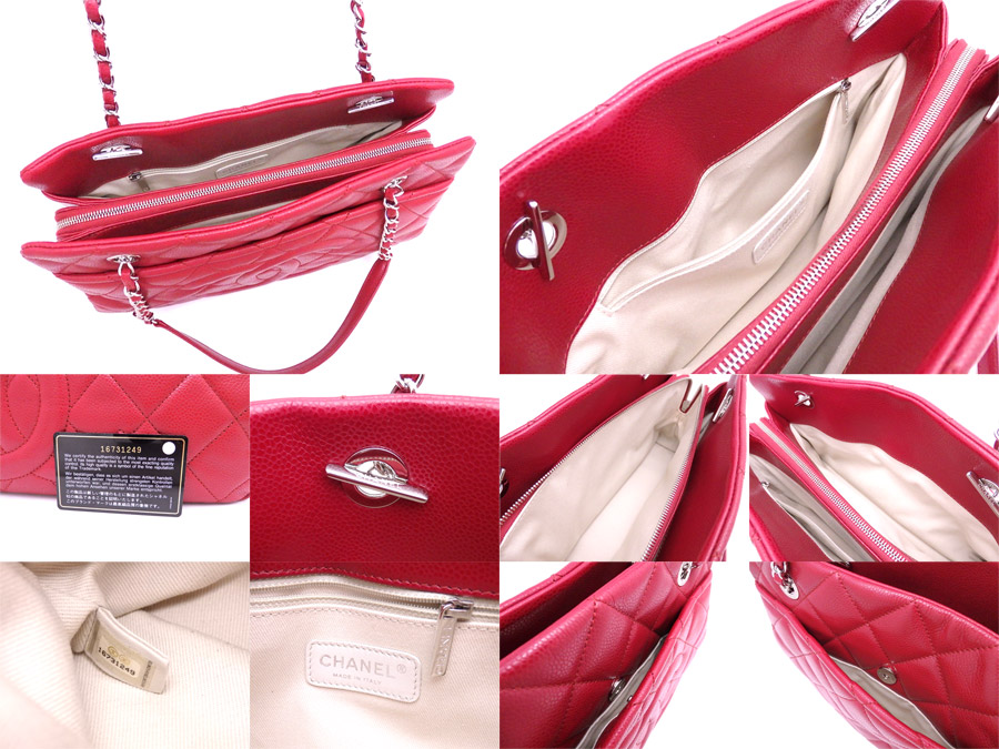 d5a231db3f19 [beautiful article] It is Chanel [CHANEL] matelasse bag chain shoulder bag  tote bag Lady's red x silver metal fittings caviar skin leather [used]