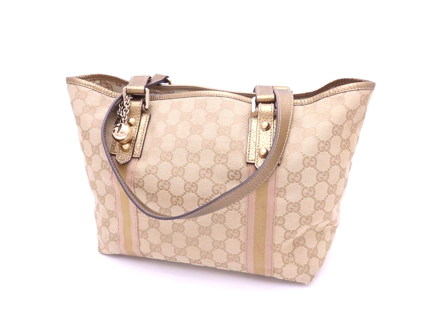 9ed804e600f4 BrandValue: Gucci GUCCI bag GG canvas beige x gold metal fittings canvas x  leather x metal material tote bag shoulder bag Lady's 137396 - e33701 |  Rakuten ...
