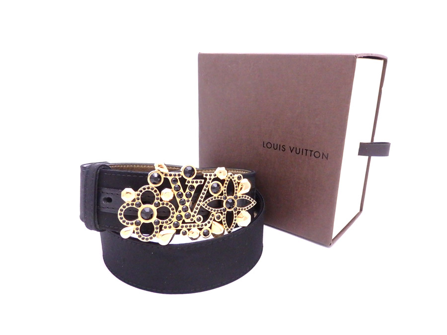 b5a2a94437f9 Louis Vuitton LOUIS VUITTON belt logo sun Tulle black x gold satin x leather  x metal material waist belt buckle Lady s M9856 - e33711