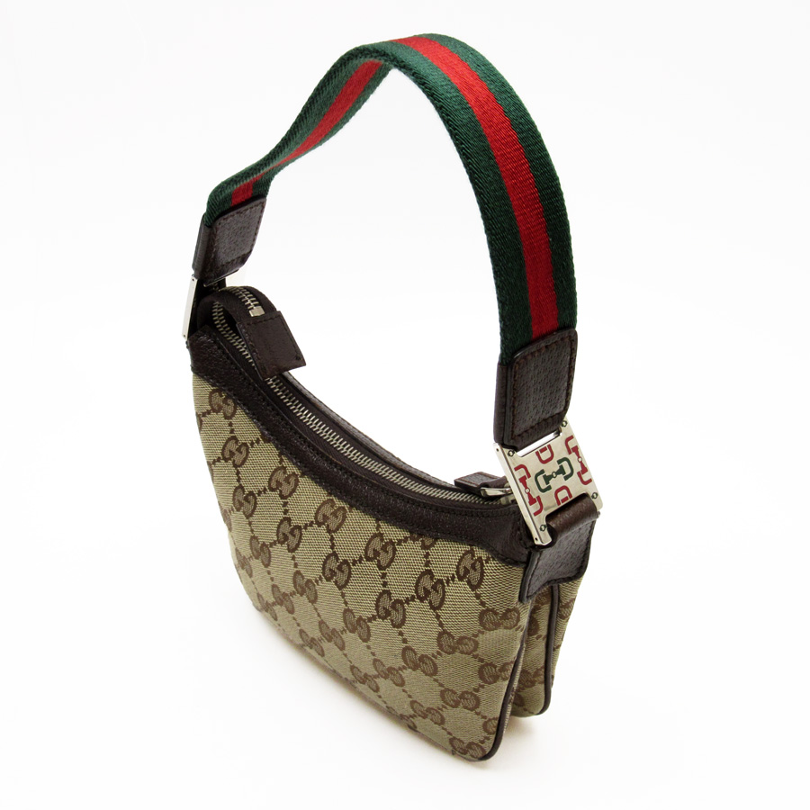 bdc7f80a66dc [used] Gucci [GUCCI] GG pattern ウェビングミニショルダーバッグレディースブラウン x green x red  leather x canvas constant seller popularity