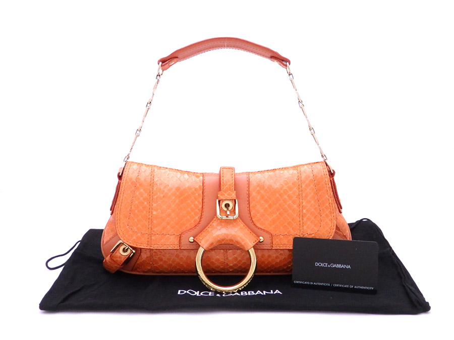Dolce   Gabbana DOLCE GABBANA bag logo orange x gold metal fittings python  leather x leather shoulder bag handbag Lady s - e33858 5b7f9738b0870