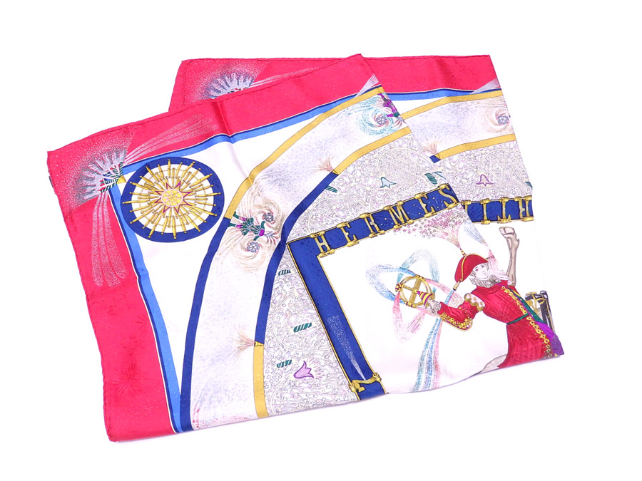 e123a1f481d09 [basic popularity] [used] 100% of Hermes [HERMES] boyfriend 90 FEUX  D'ARTIFILE scarf large size scarf silk scarf Lady's red x white x yellow x  blue silk