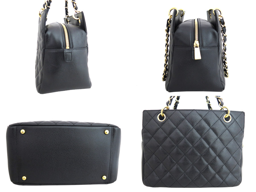 7daa1451786d [beautiful article] Tote bag chain shoulder bag tote bag Lady's black x  gold metal fittings caviar skin leather [used]less in Chanel [CHANEL] here  mark time