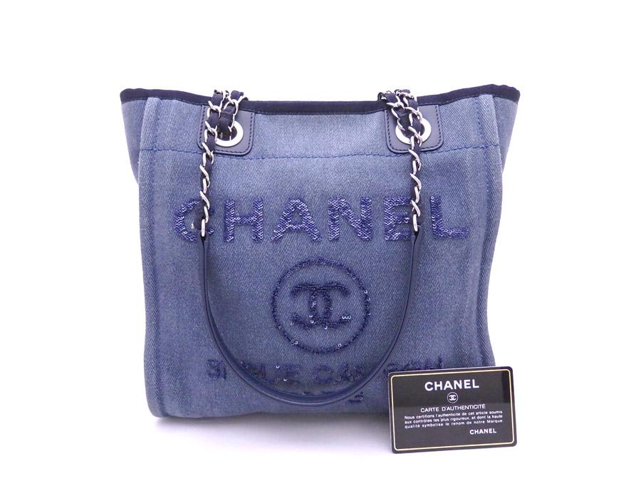 Brandvalue Chanel Bag Deauville Blue X Silver Metal Ings Denim Leather Spangles Shoulder Tote Lady S E33997 Rakuten Global