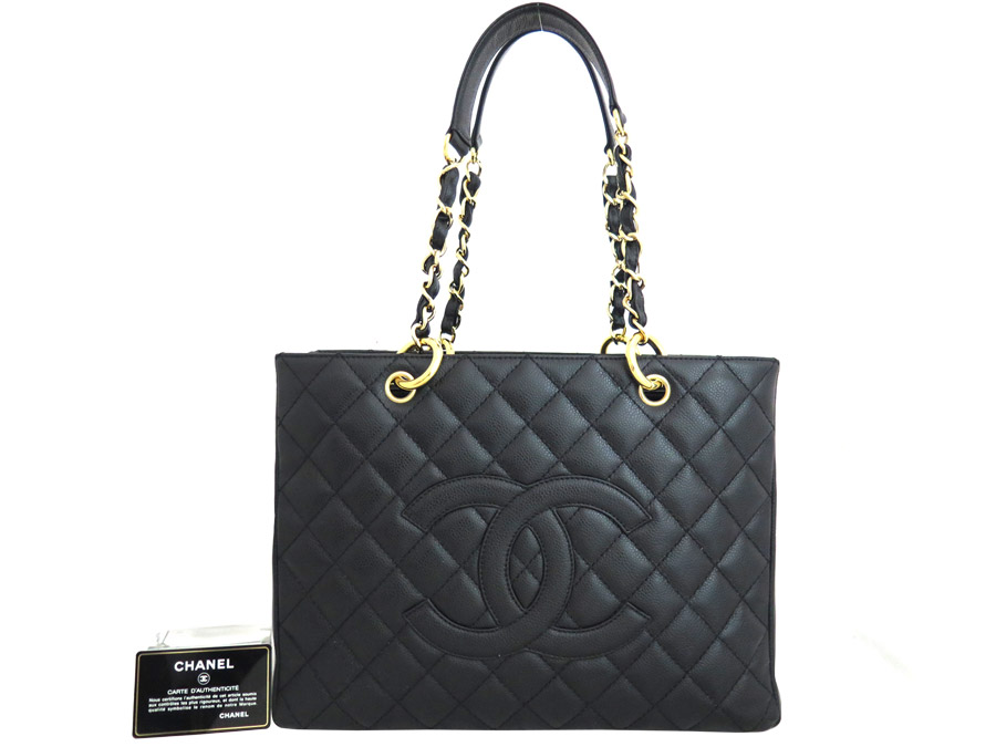 8bd9c7c7192b  beautiful article  It is Chanel  CHANEL  GST ground shopping Thoth chain  shoulder bag tote bag Lady s black caviar skin x gold metal fitting  used