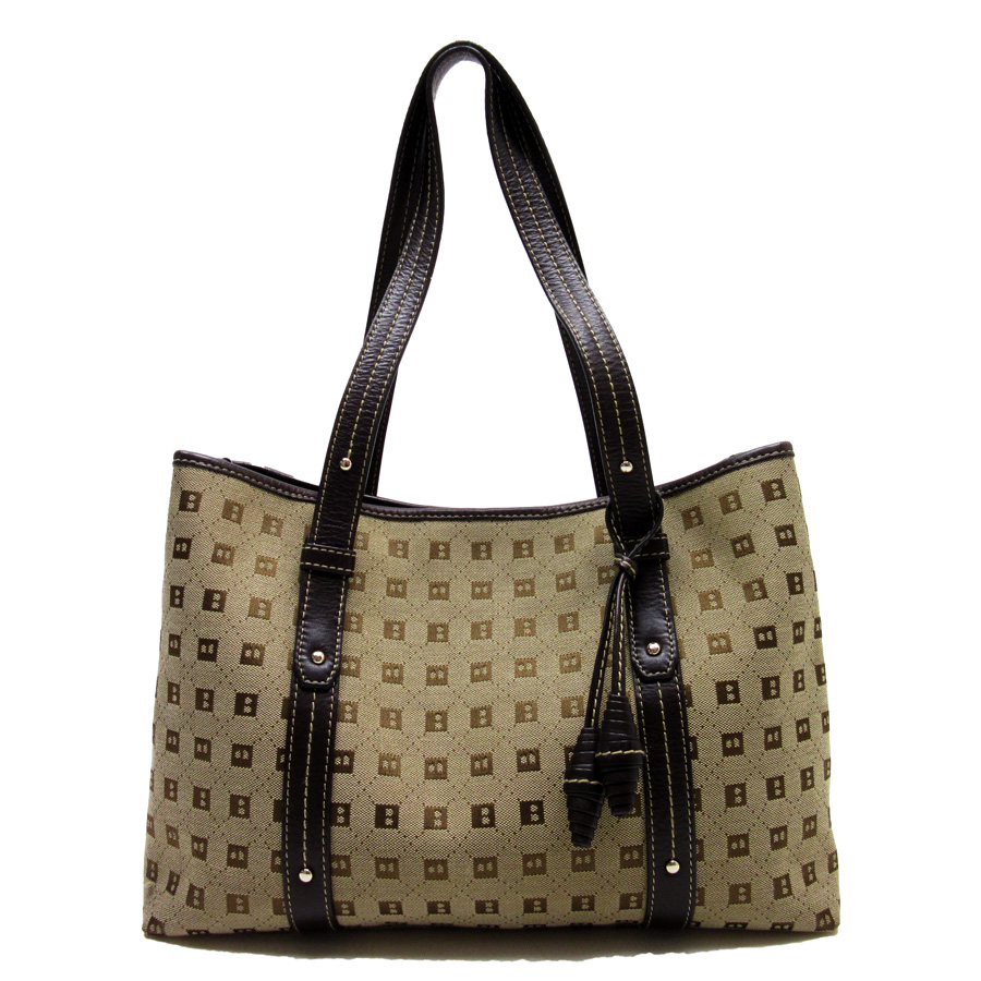 used  Barry  BALLY  shoulder bag tote bag Lady s beige x brown canvas x  leather constant seller popularity 89d03999fefba