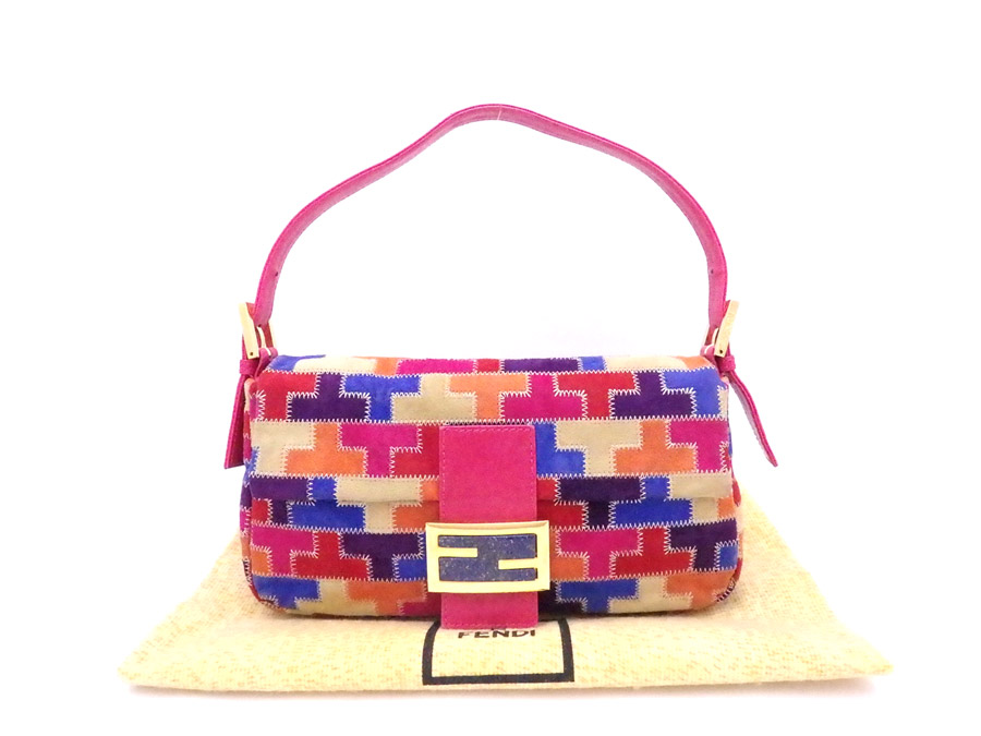 9cb26b15bfd0 BrandValue: Fendi FENDI bag patchwork baguette pink x multicolored x gold  metal fittings suede x leather shoulder bag handbag Lady's - e34242 |  Rakuten ...