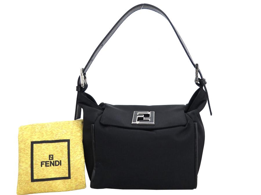117dace6cc3d  basic popularity   used  Fendi  FENDI  double F handbag shoulder bag  Lady s black nylon x leather