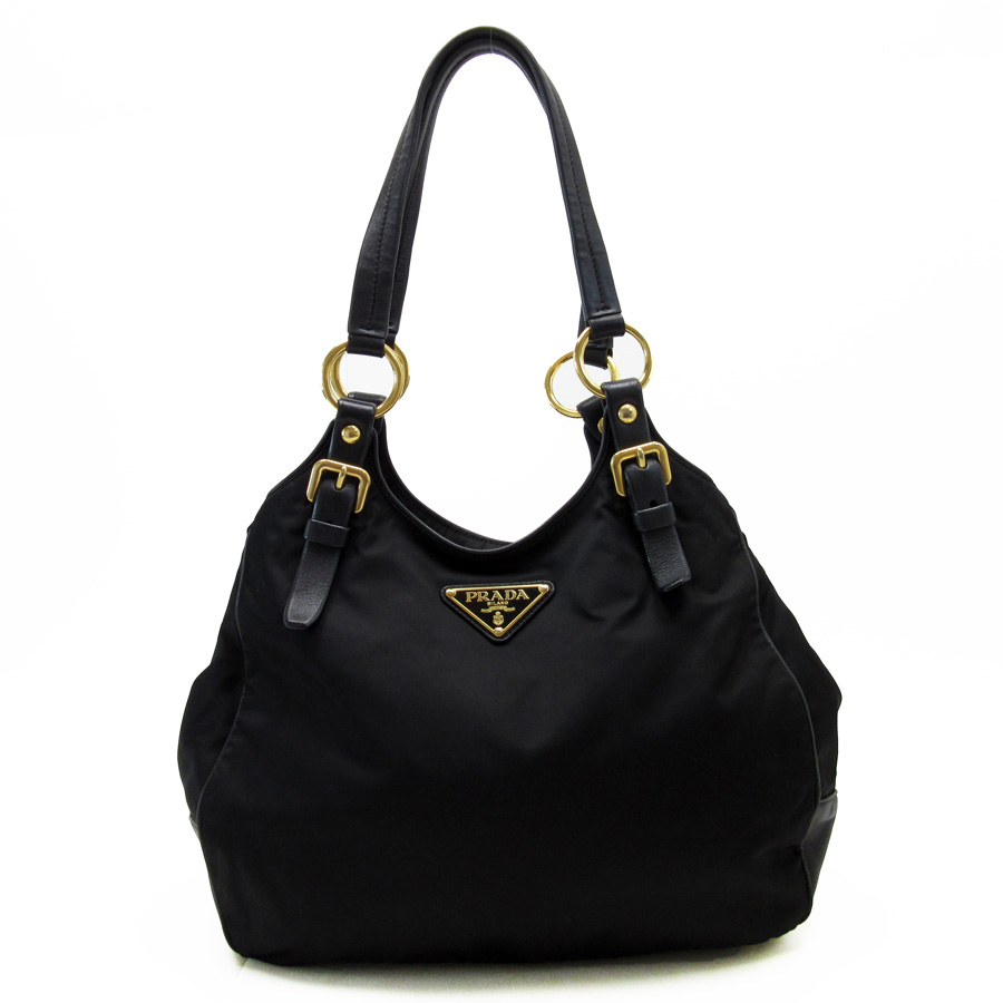 d452ad179913  basic popularity   used  Prada  PRADA  shoulder bag Lady s black x gold  leather x nylon