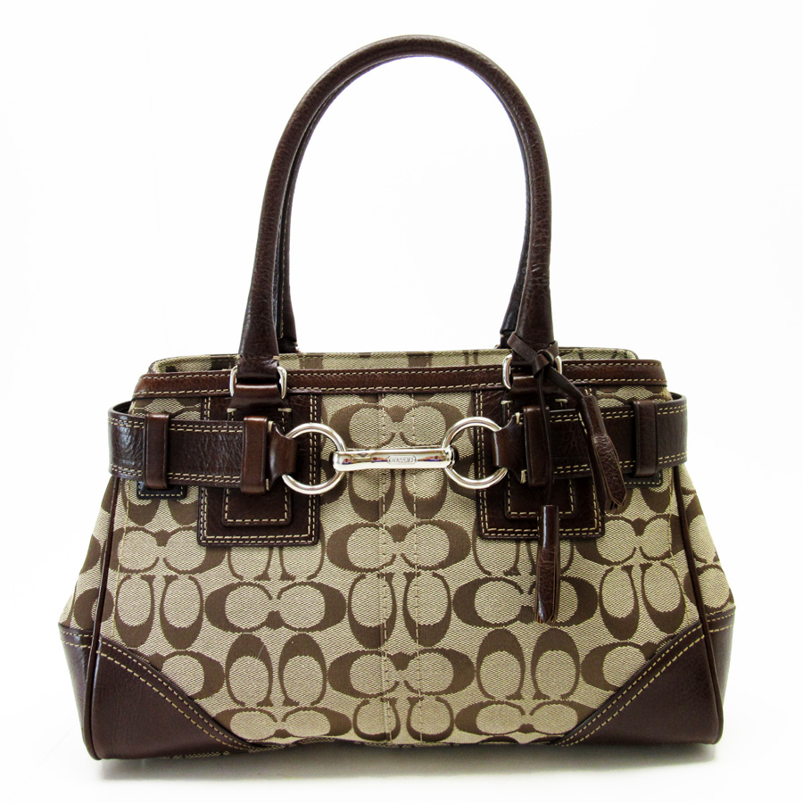 Coach Shoulder Bag Signature Beige X Brown Silver Canvas Leather Lady S H15919