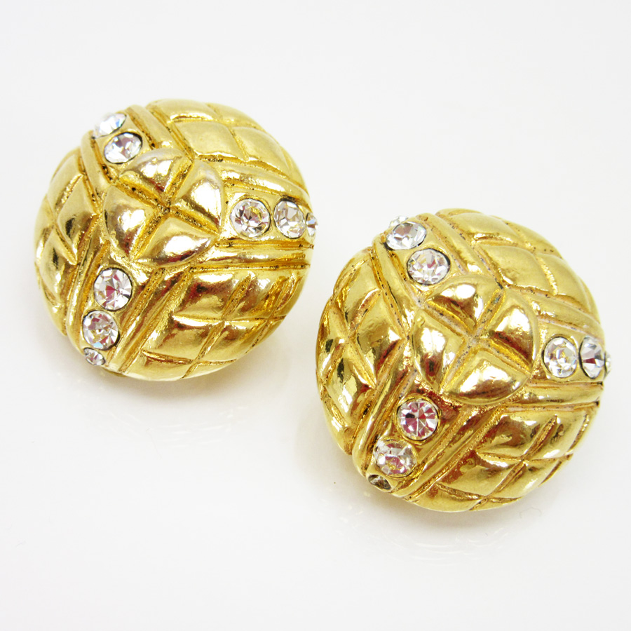 Chanel Chanel Earrings Gold X Clear Metal X Stone Lady's  H15946