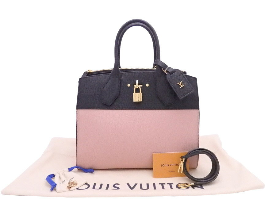 beautiful article  It is Louis Vuitton  LOUIS VUITTON  city steamer MM  handbag shoulder bag 2Way bag black x pink avian Yong leather x gold metal  fitting ... 784161c8ac9f6