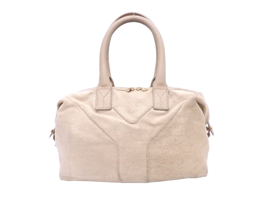 4152027cad  basic popularity   used  Yves Saint-Laurent  YVES SAINT LAURENT  YSL bag  handbag tote bag Lady s beige x gold metal fittings canvas x leather
