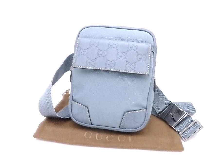 af47b628d04e 161823 Gucci GUCCI waist porch Gucci sima light blue x silver metal  fittings nylon x leather ...