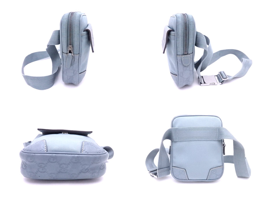 f4af2248ab18 ... 161823 Gucci GUCCI waist porch Gucci sima light blue x silver metal  fittings nylon x leather ...