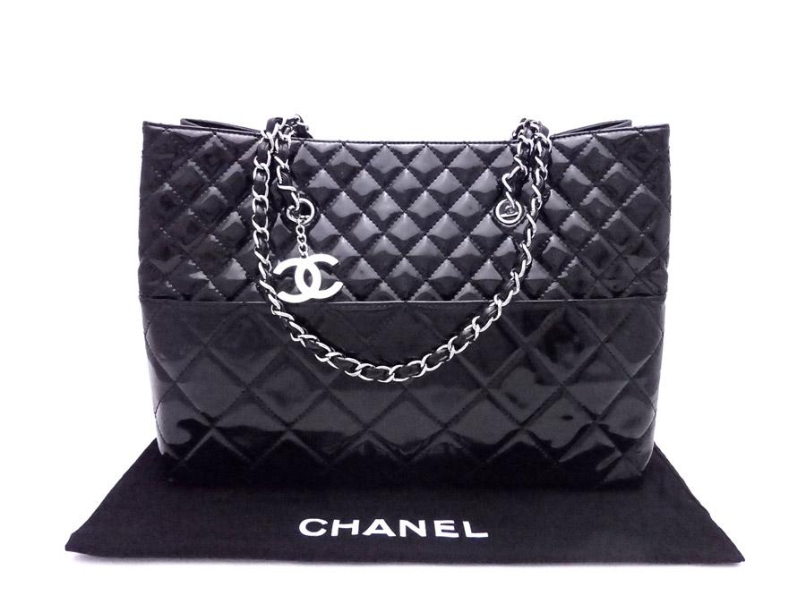 d0302894e7f9 BrandValue: Chanel CHANEL bag matelasse black x silver metal fittings patent  leather x metal material tote bag shoulder bag Lady's - e34810 | Rakuten  Global ...