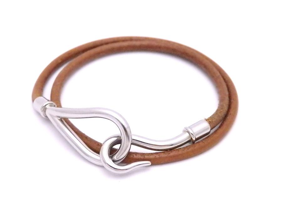Basic Pority Used Hermes Jumbo Bracelet Bangle Two Leather Lady S Men Brown X Silver Metal Ings