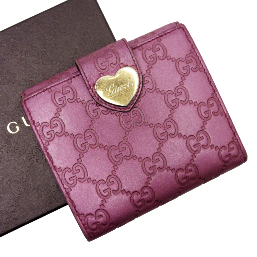 cb9cb16d3a2  basic popularity   used  Gucci  GUCCI  Gucci sima W hook folio wallet  Lady s pink x gold Gucci sima leather