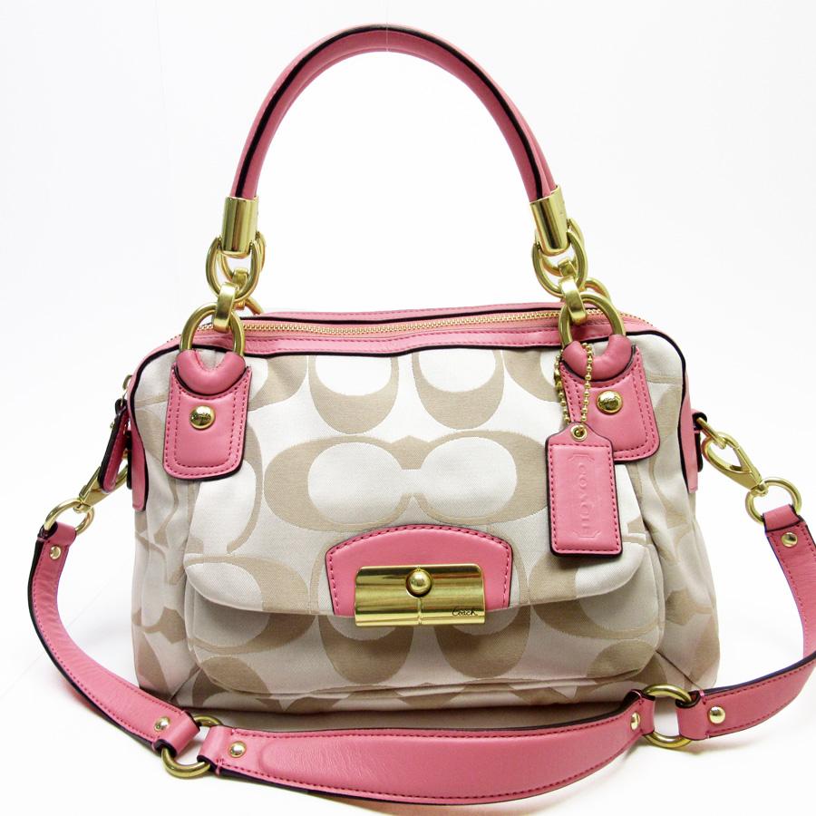 2be911996659 ... clearance basic popularity used coach coach signature handbag shoulder  bag 2way bag lady beige x pink