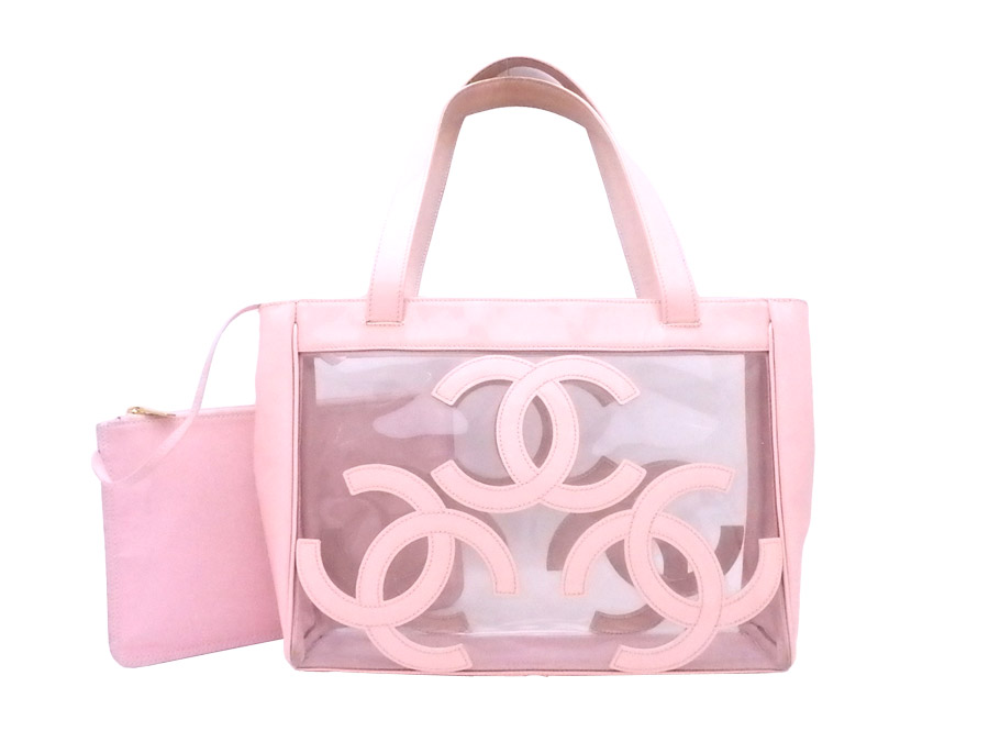 0a697cfaadb9 Chanel CHANEL bag here mark clear x light pink vinyl x patent leather tote  bag shoulder ...