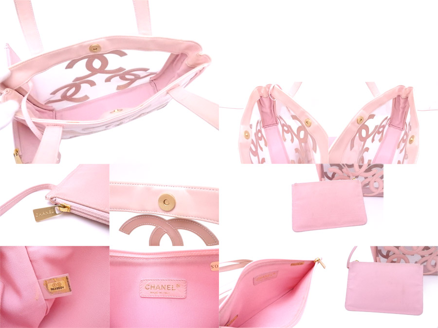 5ac779c0f834 ... Chanel CHANEL bag here mark clear x light pink vinyl x patent leather tote  bag shoulder ...