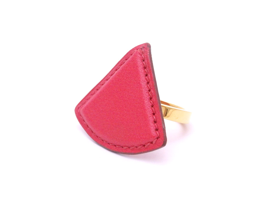9a91b46c0524  basic popularity   used  a Hermes  HERMES  scarf ring scarf accessories  charm Lady s men red x gold metal fittings leather x metal material