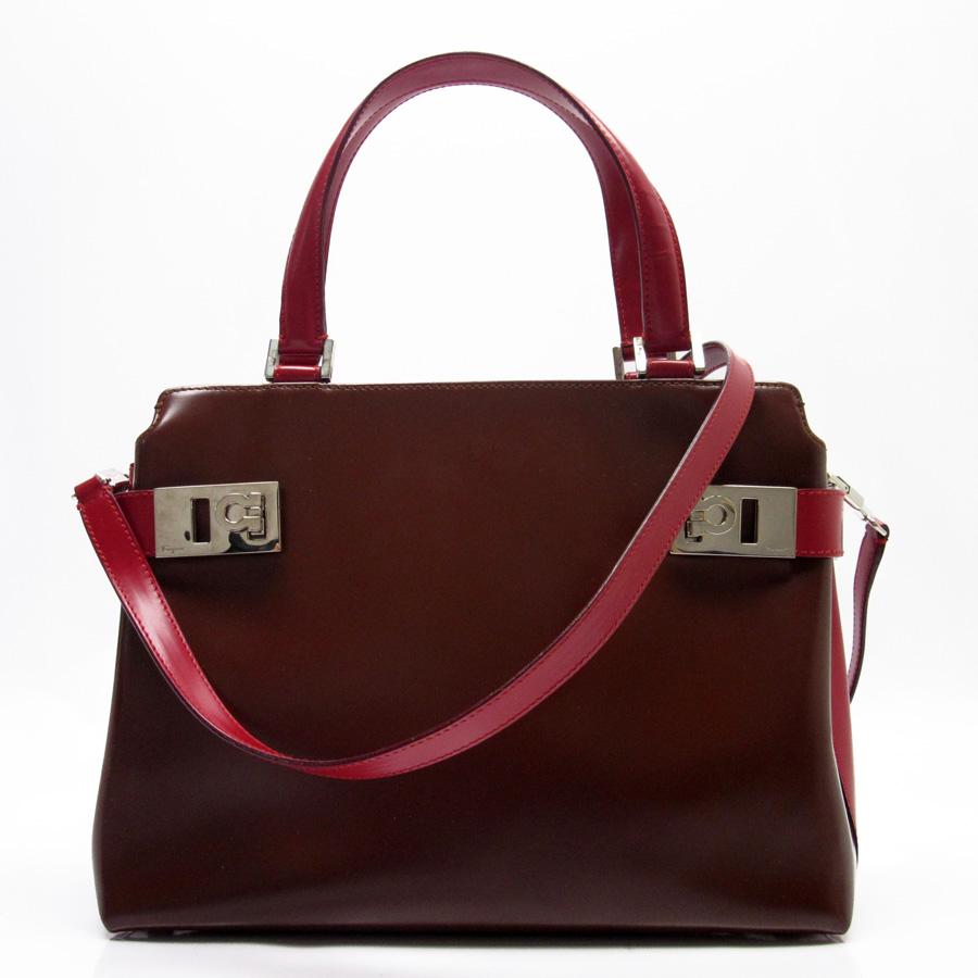 Basic Pority Used Salvatore Ferragamo ガンチーニハンドバッグショルダーバッグ 2way Bag Lady Brown X Red Leather