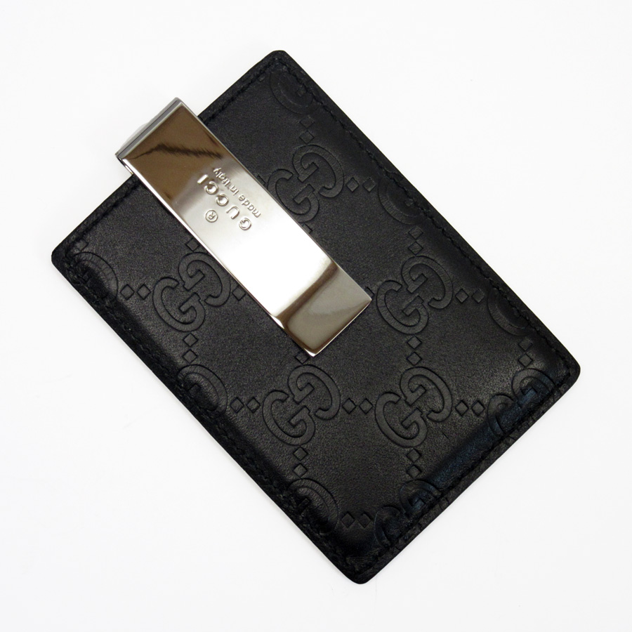 f0501f3649e Gucci GUCCI card case money clip Gucci sima black x silver Gucci sima  leather x stainless steel Lady s men -87