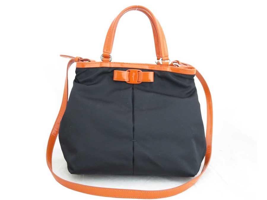 Basic Pority Used Salvatore Ferragamo Rose 2way Bag Handbag Shoulder Lady S Black X Orange Silver Metal Ings Nylon