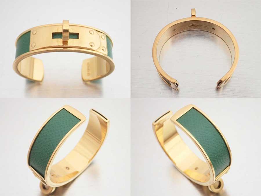 a0d8db659f13 ケリーモチーフのブレスレットです。鮮やかなグリーンカラーが目を惹く王道人気のお品物です☆ほかのブレスレットや時計などと重ね付けをしてもGOODです♪