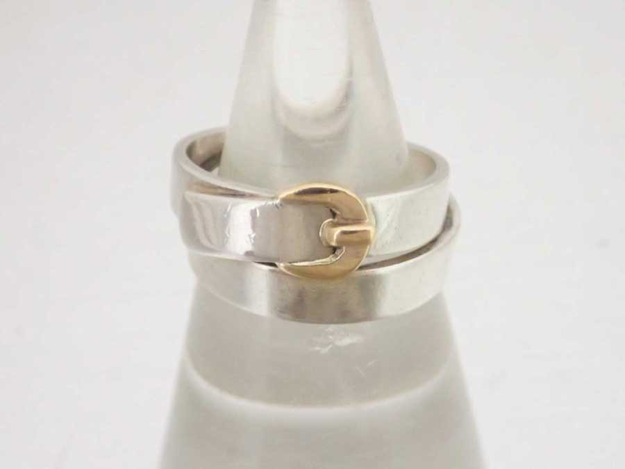 1f36995c2 [basic popularity] [used] Hermes [HERMES] belt motif ring ring silver ring  Lady's gold x silver gold 750xSV925