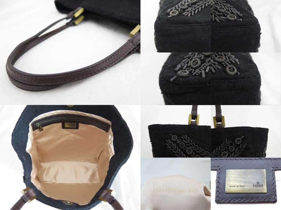 basic popularity   used  Fendi  FENDI  beads embroidery handbag shopping  bag lady black textile x Wood beads 31749d36cdcd8