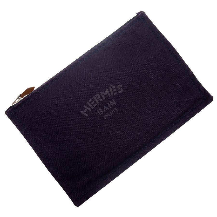b12fe5a00c0e BrandValue  Hermes HERMES clutch bag multi-case dark purple canvas ...