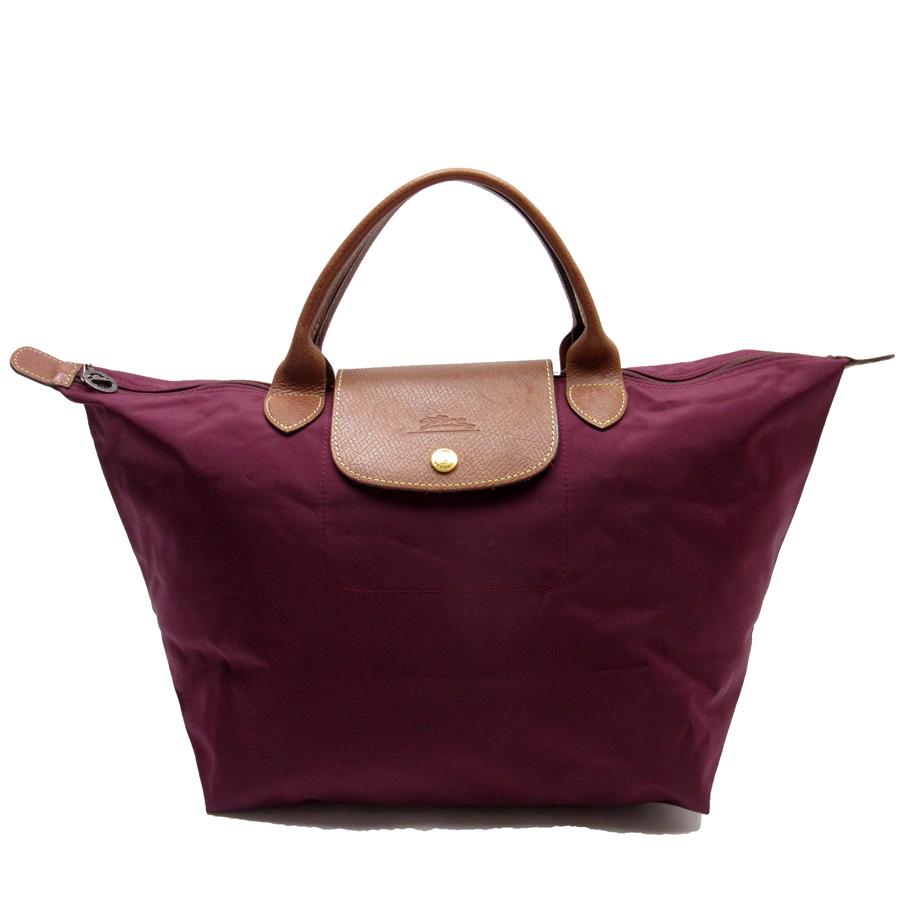 Longchamp LONGCHAMP ハンドバッグトートバッグルプリアージュワインレッド x brown nylon x leather  Lady's -87,605