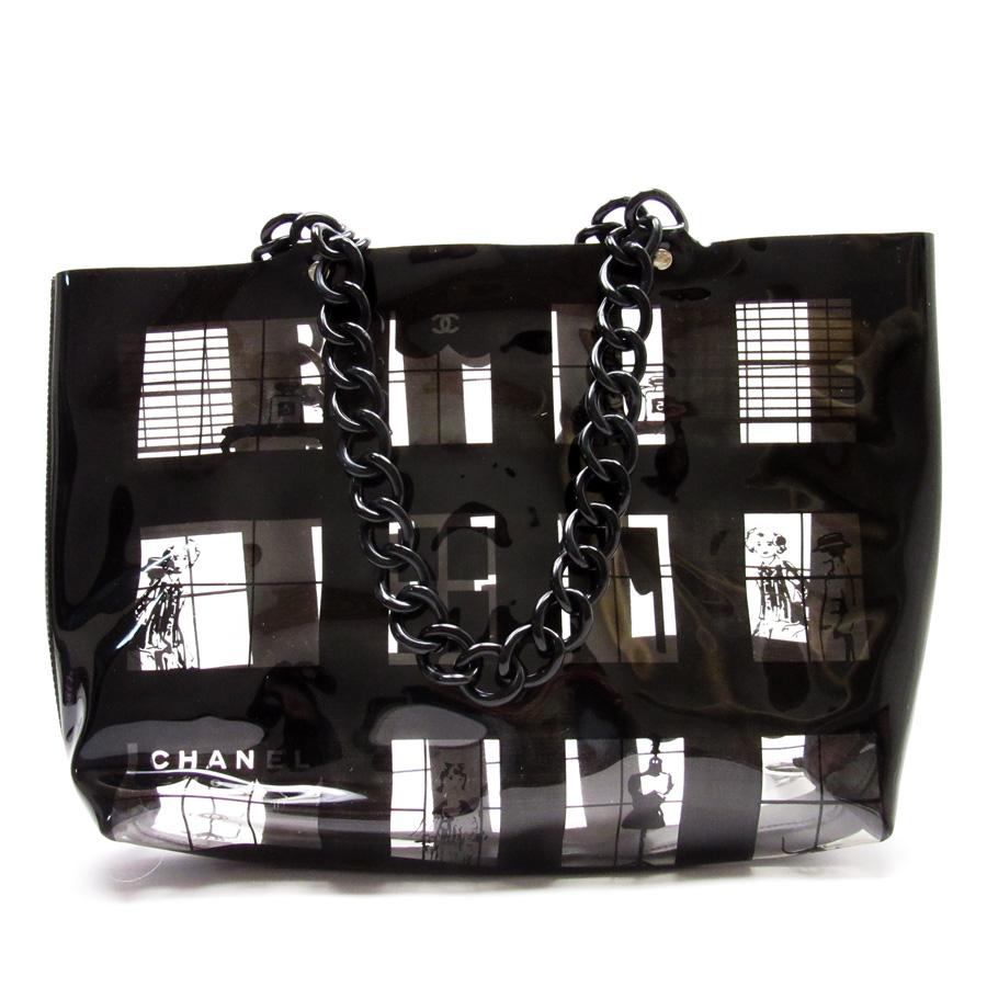 ea5654d7ddef Chanel CHANEL shoulder bag tote bag vinyl bag clear x black vinyl x plastic  Lady's ...