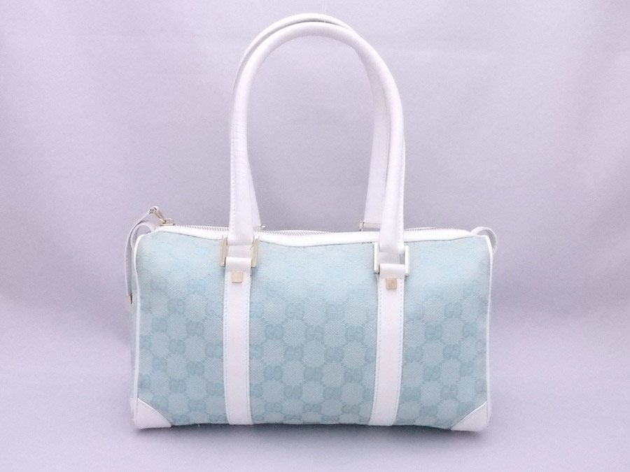 5ed3a5da44fa27 [basic popularity] [used] a Gucci [GUCCI] GG canvas bag handbag mini-Boston  bag Lady's light blue x white x gold metal fittings canvas x leather x  metal ...