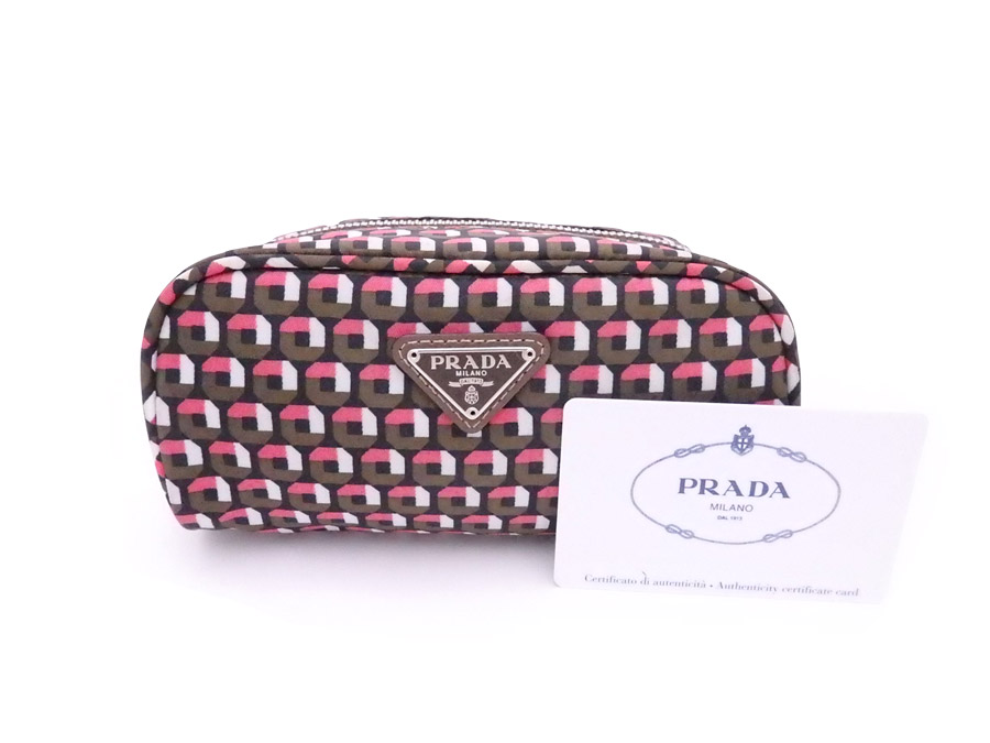 5548027130bbdb [beautiful article] It is Prada [PRADA] triangle logo porch makeup porch  make porch Lady's men pink x brown x silver metal fittings nylon [used]
