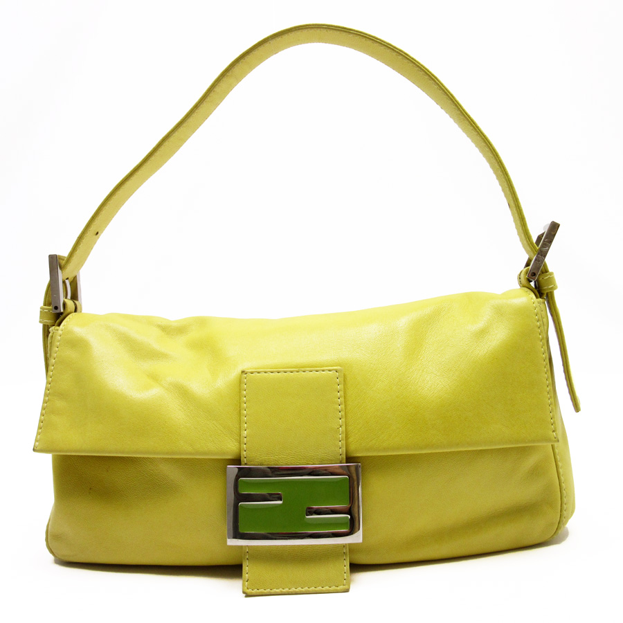 basic popularity   used  Fendi  FENDI  FF shoulder bag accessories porch  Lady s yellow x green x silver leather 09d9d39ea4c99