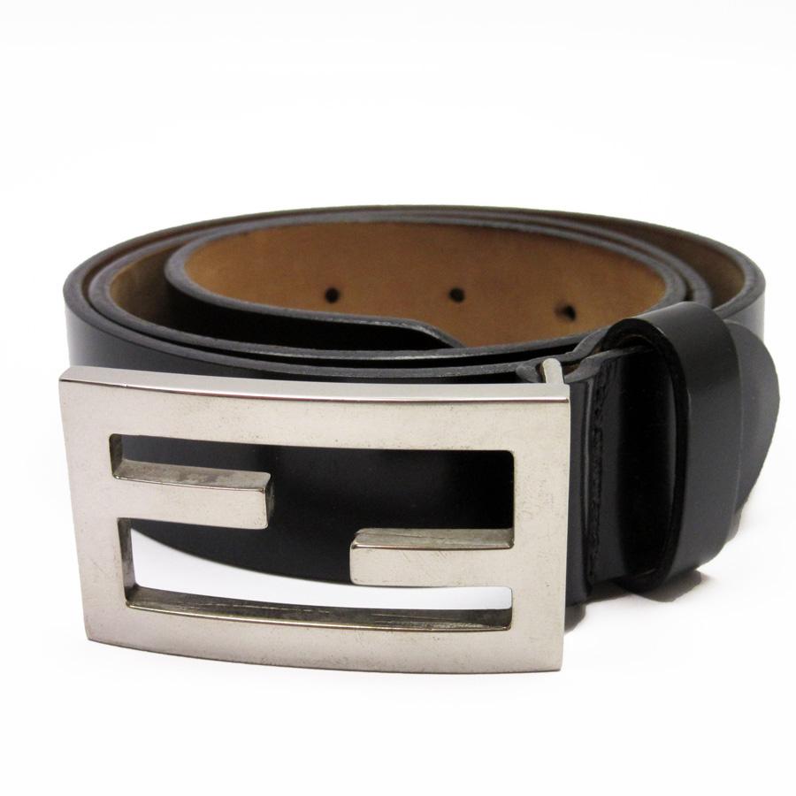 b69677ebbe Fendi FENDI belt (110/125) FF black x silver leather men -87,856