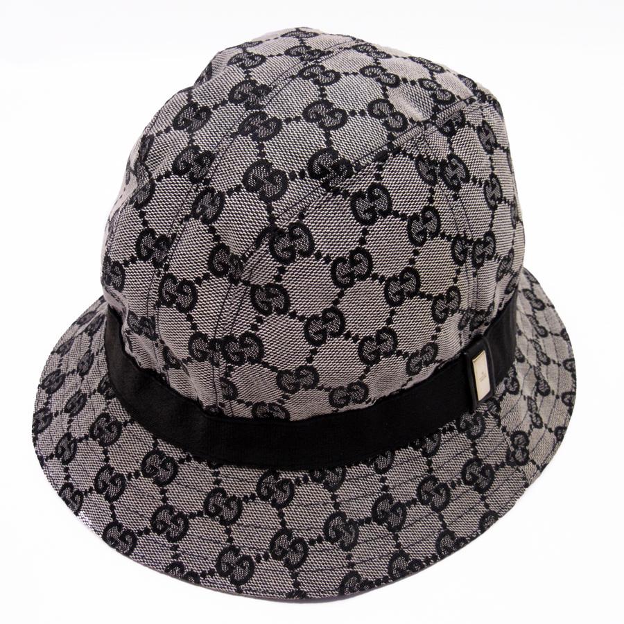 Gucci GUCCI hat hat (medium size) GG gray x black x gold canvas x nylon  Lady s men -87 1af2ba7d1328