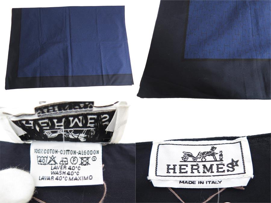 エルメス HERMES ストール Hロゴ ネイビーxブラック コットン100% ショール 羽織り物 レディース メンズ定番人気e35106roedCBx