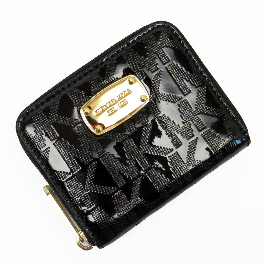 bcdb4b49cb1e BrandValue: Michael Kors MICHAEL KORS round fastener wallet black x gold  patent leather Lady's - g0072 | Rakuten Global Market