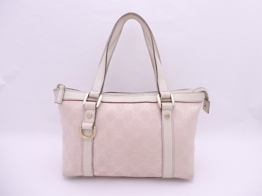 947485474ee5 [basic popularity] [used] Gucci [GUCCI] GG canvas bag handbag mini-bag lady  light pink x white x gold metal fittings canvas x leather