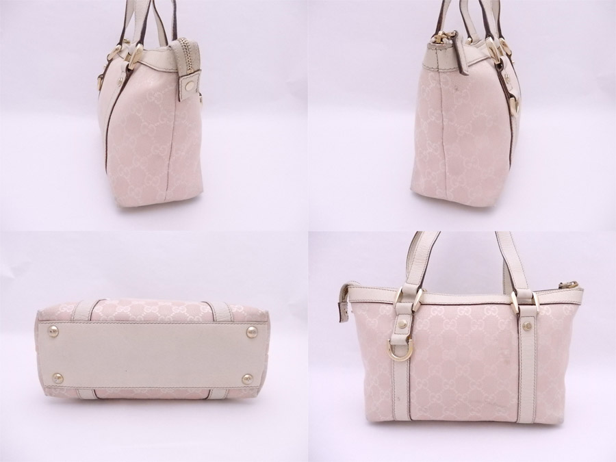 04d991c7dfe421 ... 141471 Gucci GUCCI bag GG canvas light pink x white x gold metal  fittings canvas x ...