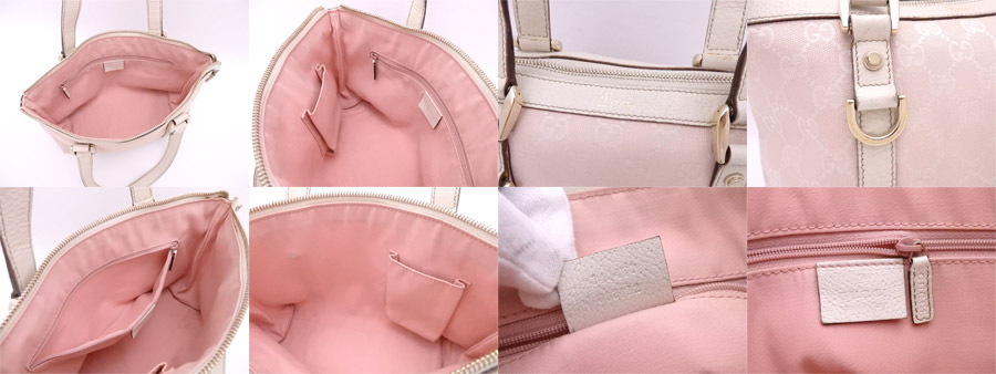 98e85017b2c27a [basic popularity] [used] Gucci [GUCCI] GG canvas bag handbag mini-bag lady  light pink x white x gold metal fittings canvas x leather