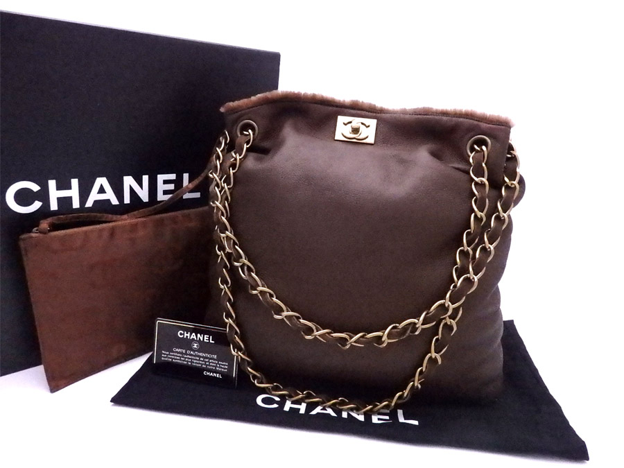 339b645d2153 BrandValue: Chanel CHANEL bag here Mark Brown x gold metal fittings fur x  leather shoulder bag tote bag Lady's - e35160 | Rakuten Global Market