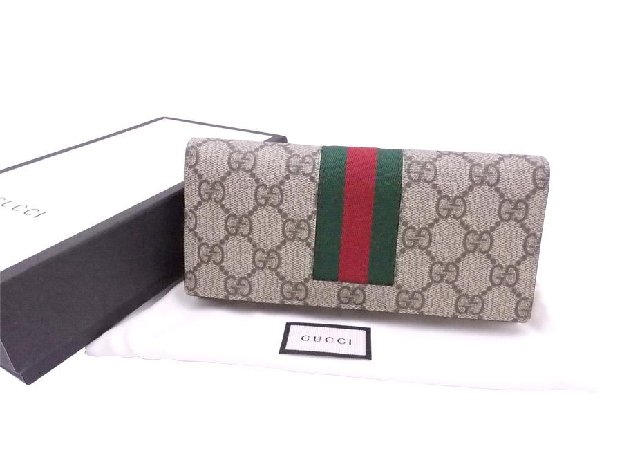 グッチ Gucci 財布 GGスプリーム ブラウンxグリーンxレッド PVCxキャンバス 二つ折り長財布 ロングウォレット レディース メンズ 408830 【中古】【おすすめ】 - e35169